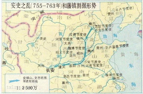 清朝前期地图_安史之乱进军路线和藩镇割据形势图-历史地图网